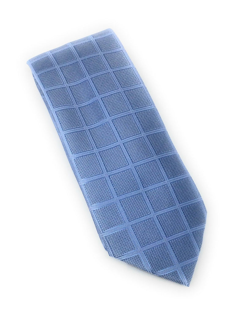 Sky Blue Solid Check Silk Tie With Matching Pocket Square