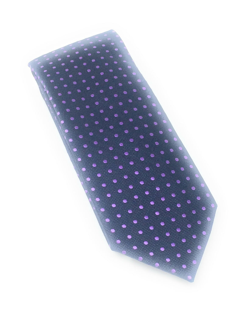 Mid Night Blue & Purple Mini Dots Tie Set