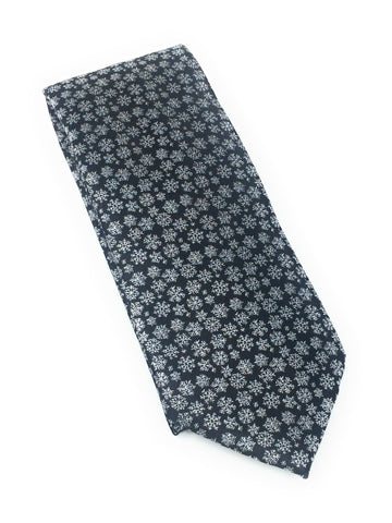 Black Abstract Silk Tie With Matching Pocket Square