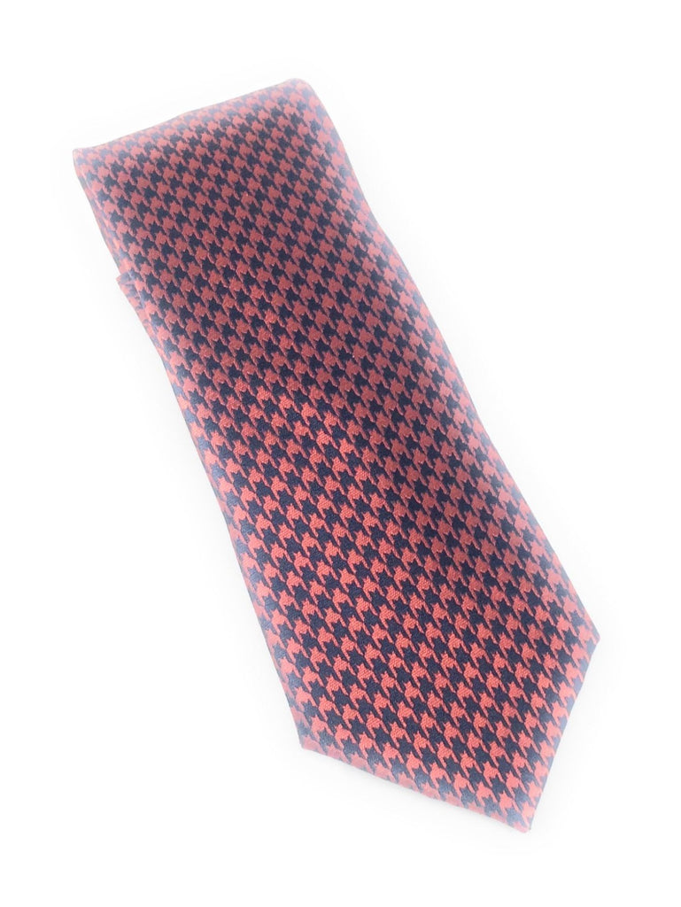 Navy & Red Houndstooth Silk Tie Set Including Pocket Square