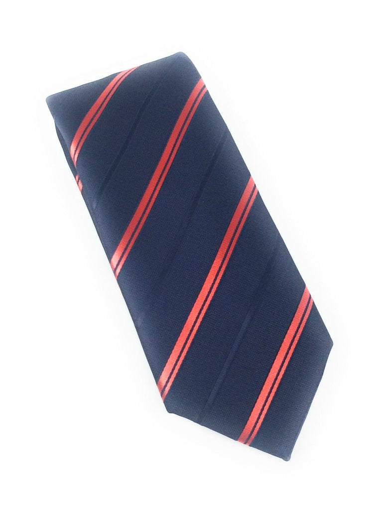 Navy & Red Stripes Silk Tie With Matching Pocket Square