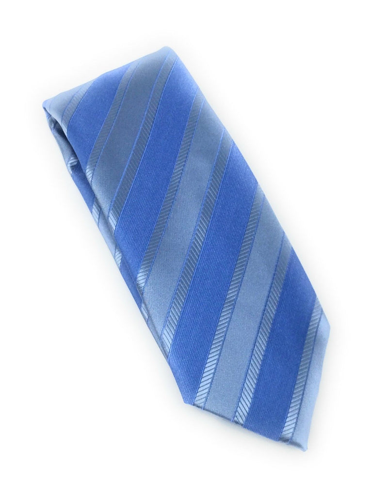 Sky Blue & Silver Regal Silk Tie With Matching Pocket Square