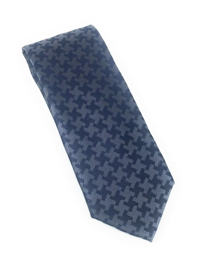 Navy Abstract Silk Tie With Matching Pocket Square