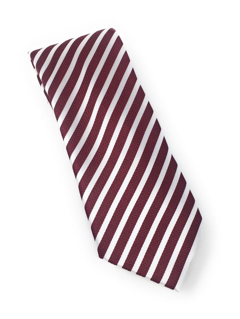 Burgundy & White Regal Silk Tie With Matching Pocket Square
