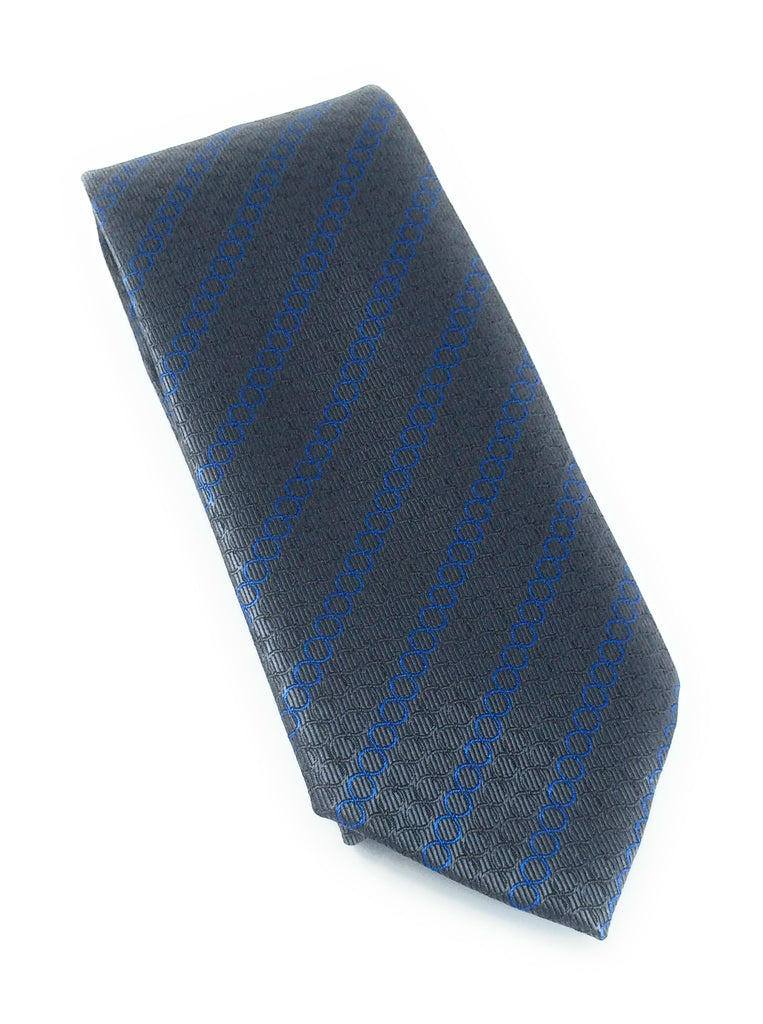 Charcoal Grey & Blue Circle Silk Tie