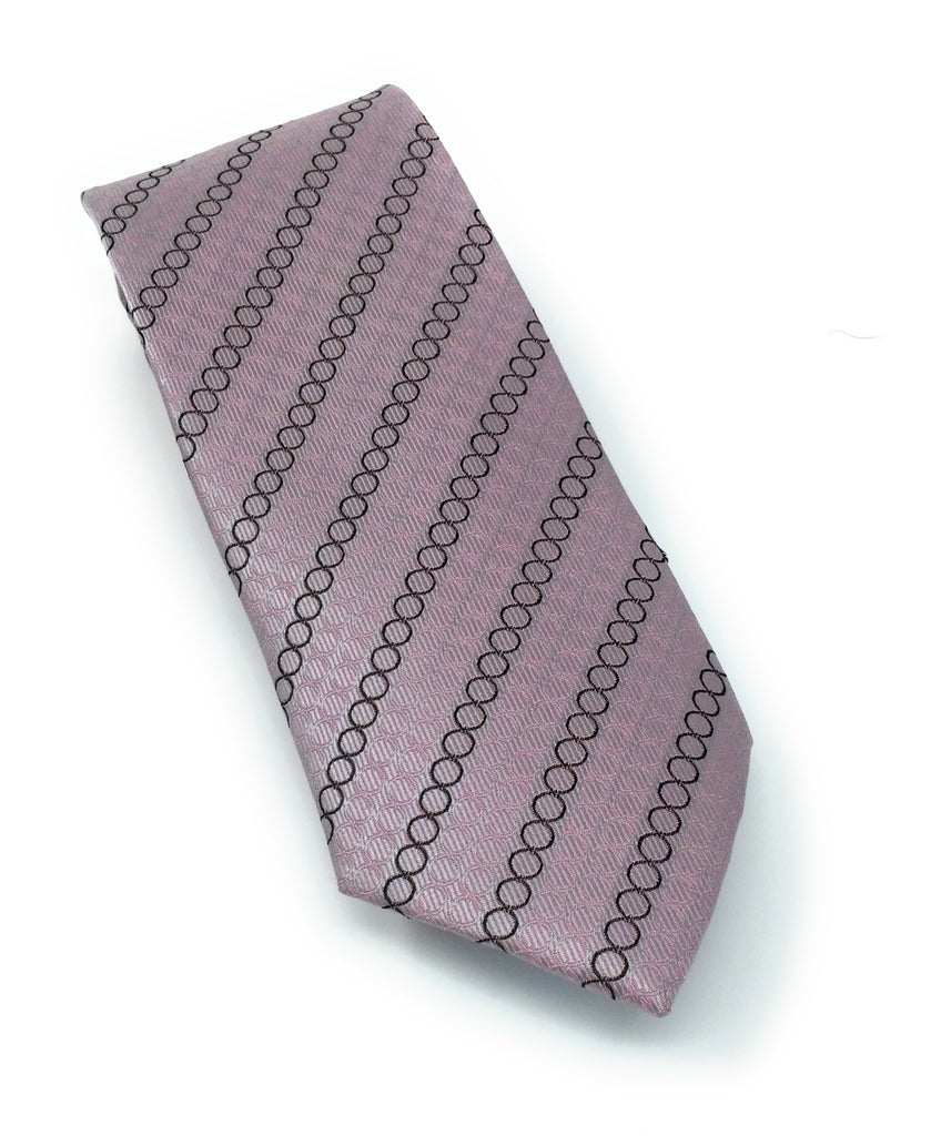 Pink & Dark Burgandy Circle Silk Tie