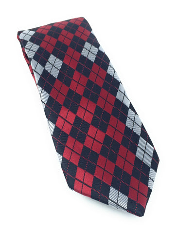 Red, Black & Grey Argyle Silk Tie