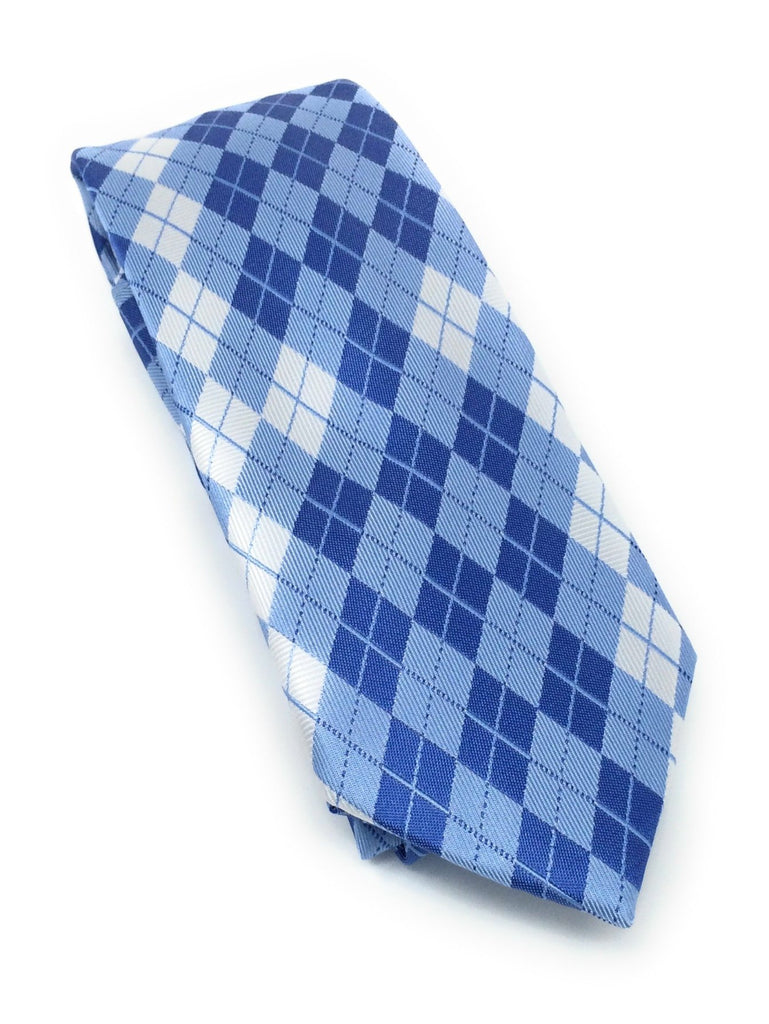 Light Blue & Silver Argyle Silk Tie