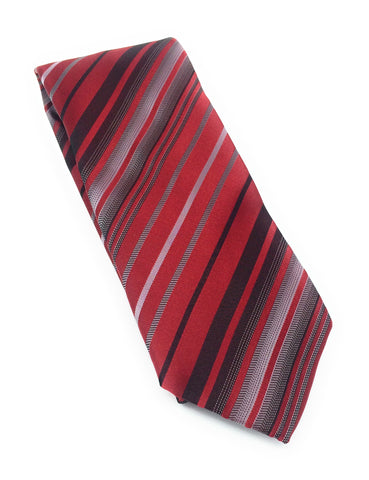 Red & Charcoal Grey Stripe Silk Tie Set