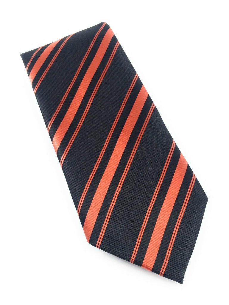 Clemson Orange & Black Stripe Silk Tie