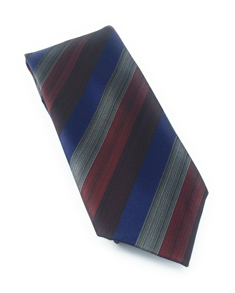 Navy & Red Multi Color Stripe Silk Tie