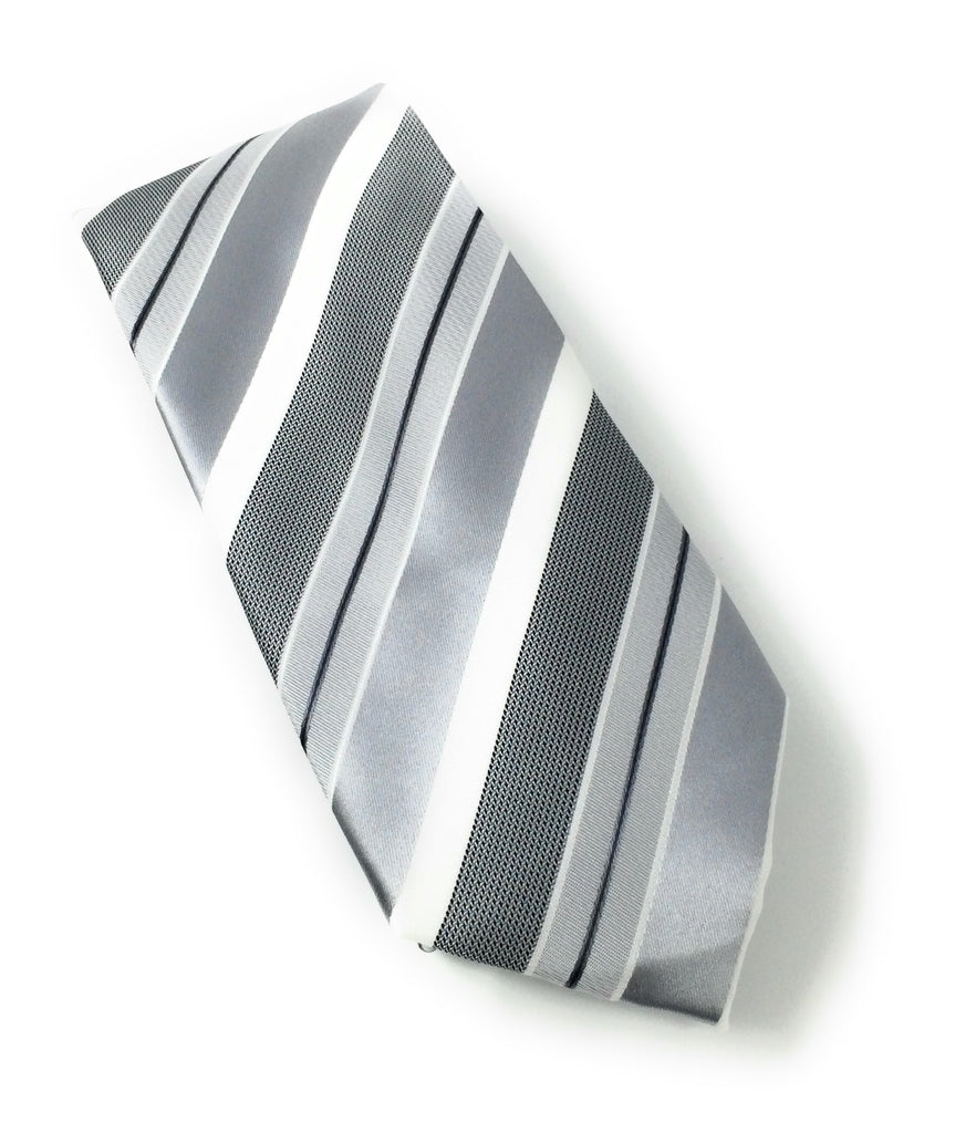 Light Grey & White Stripe Tie Set