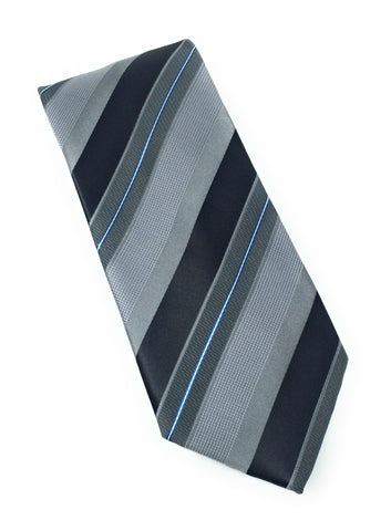 Charcoal Grey & Navy Stripe Tie Set