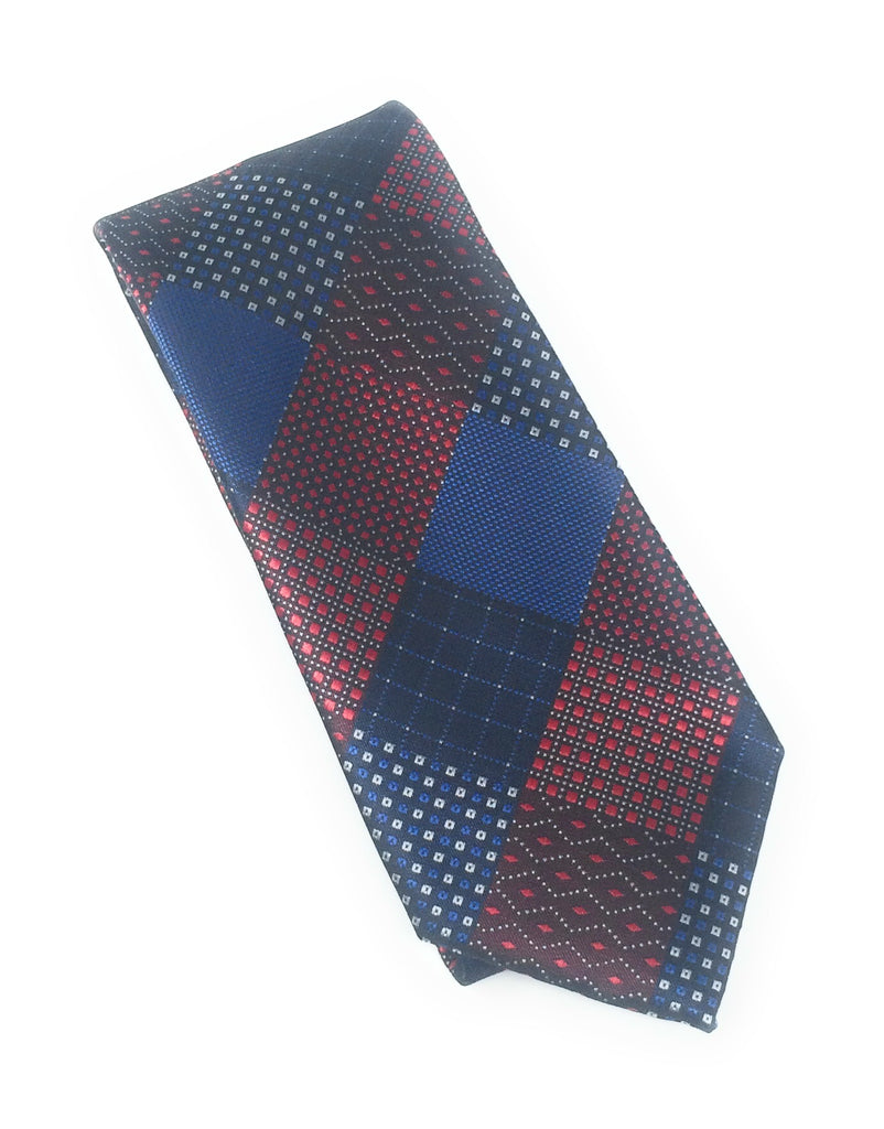 Red & Navy Multi Pattern Tie Set