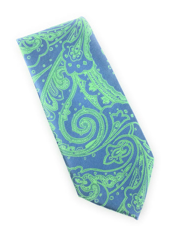 Light Navy & Lime Paisley Tie Set