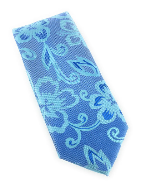 Aqua & Light Navy Floral Silk Tie Set Including Pocket Square