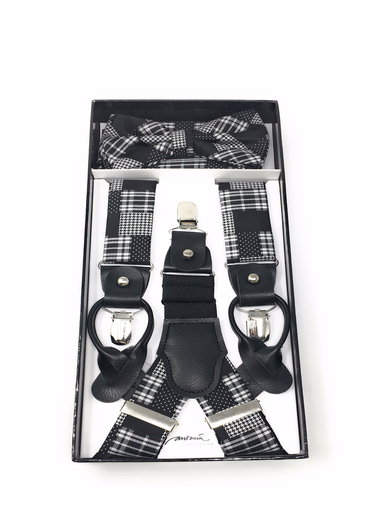 Black & White Plaid Suspenders with Matching Silk Bow Tie and Pocket Square