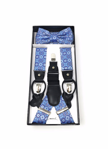 Navy & Light Blue Suspenders with Matching Silk Bow Tie