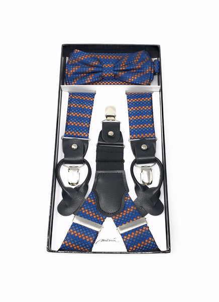 Cobalt Blue & Orange Suspenders with Matching Silk Bow Tie With Matching Pocket Square
