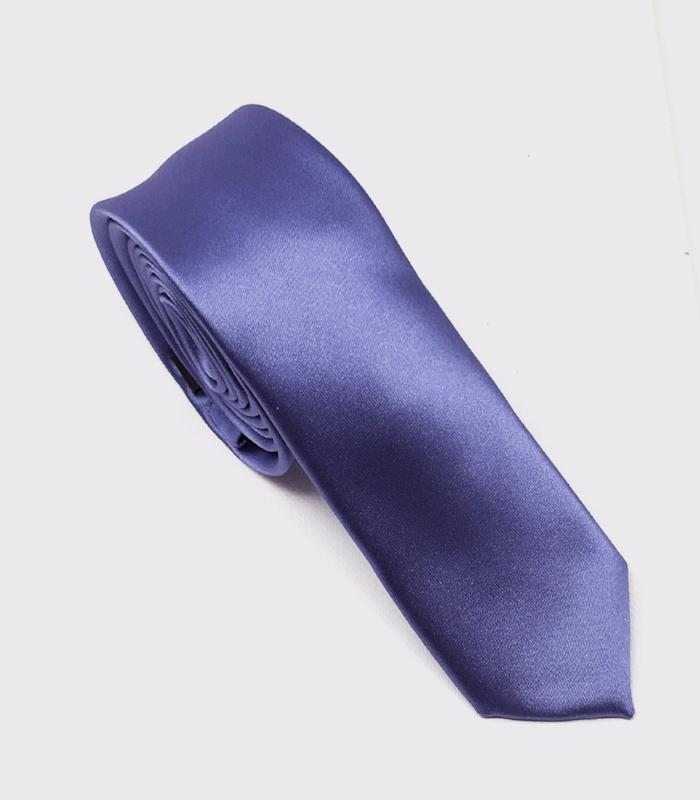 Blue With A Hint of Violet Solid Skinny Silk Tie (Tie Only)
