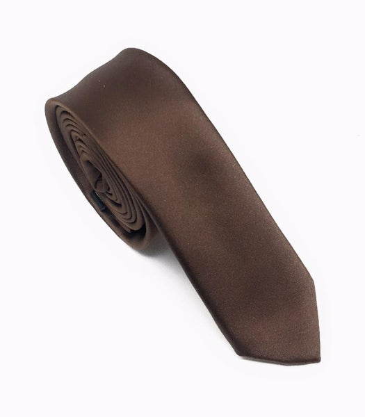 Brown Solid Skinny Silk Tie (Tie Only)