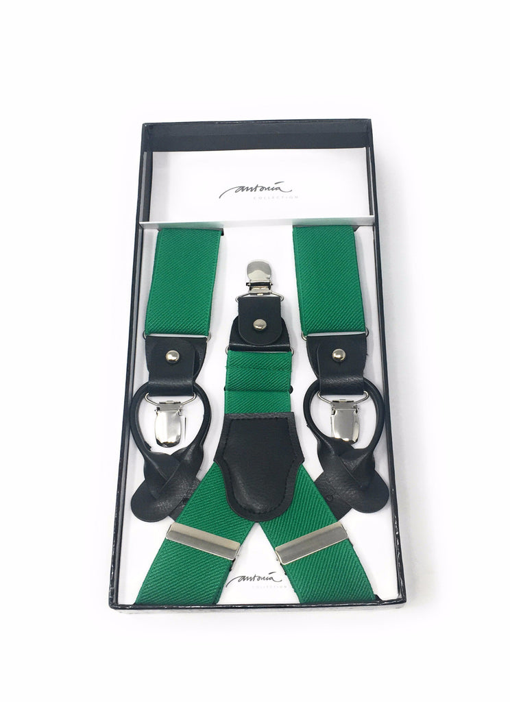 Solid Green Suspenders