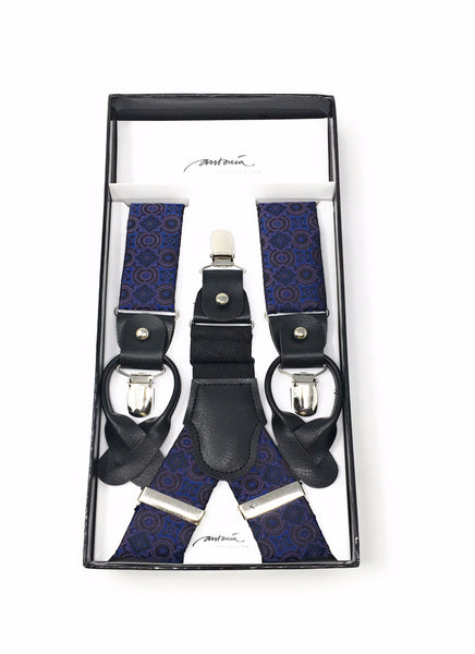 Purple and Blue Silk Designed Suspenders