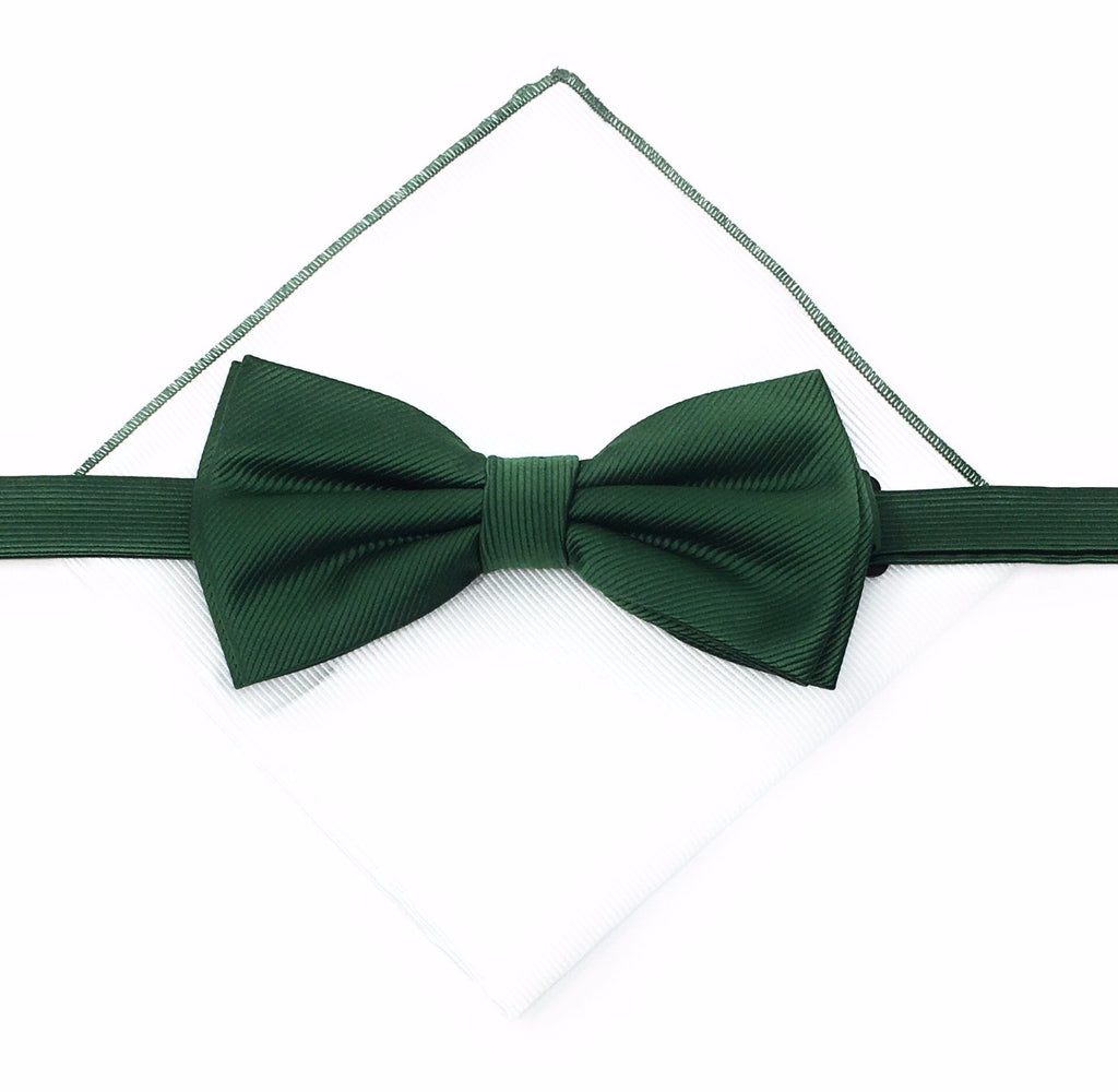 Corded Weave Solid Forest Green Silk Pre-Tied Bow Tie With A White Pocket Square With Forest Green Colored Trim