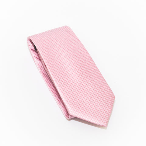 Pink Solid Micro Grid Extra Long Silk Tie