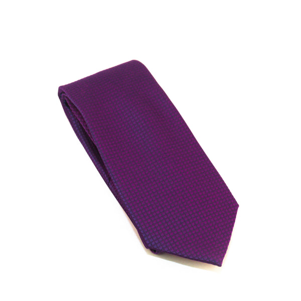 Purple Solid Micro Grid Extra Long Silk Tie