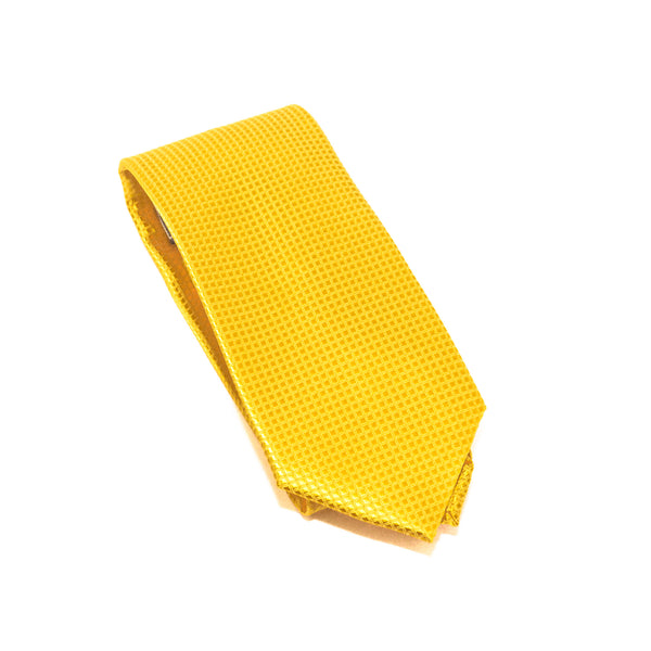 Custard Solid Micro Grid Extra Long Silk Tie