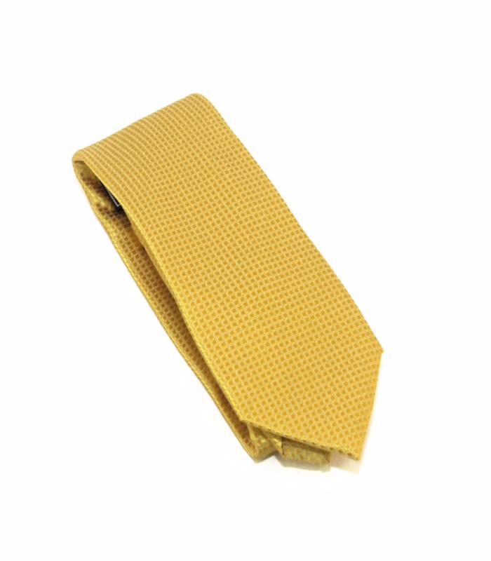 Gold Solid Micro Grid Extra Long Silk Tie
