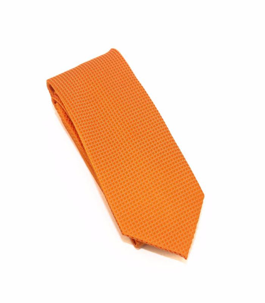 Orange Solid Micro Grid Extra Long Silk Tie
