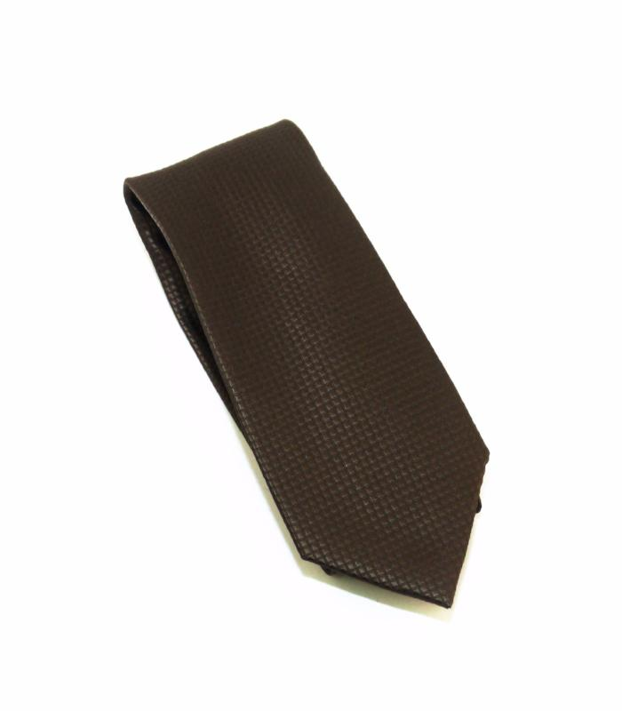 Brown Solid Micro Grid Extra Long Silk Tie