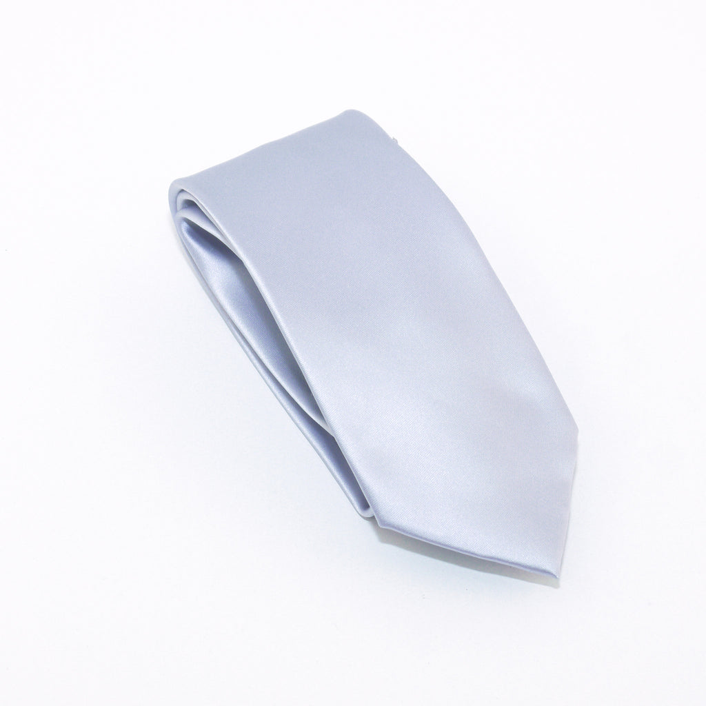 Silver Solid Extra Long Silk Tie