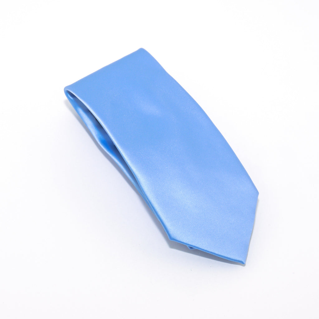 Sky Blue Solid Extra Long Silk Tie