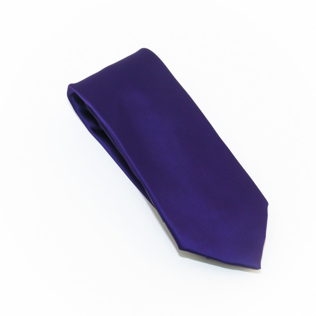 Purple Solid Extra Long Silk Tie