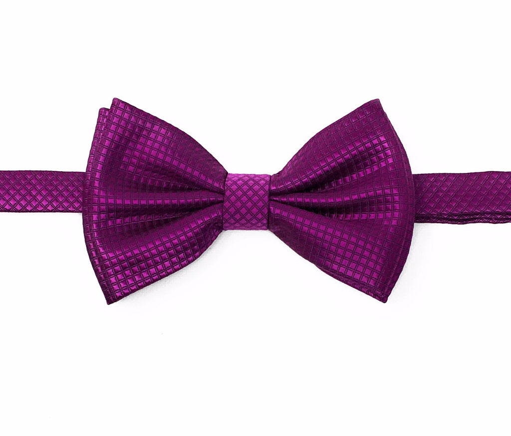 Violet Micro Grid Silk Pre-Tied Bow Tie With Matching Pocket Square