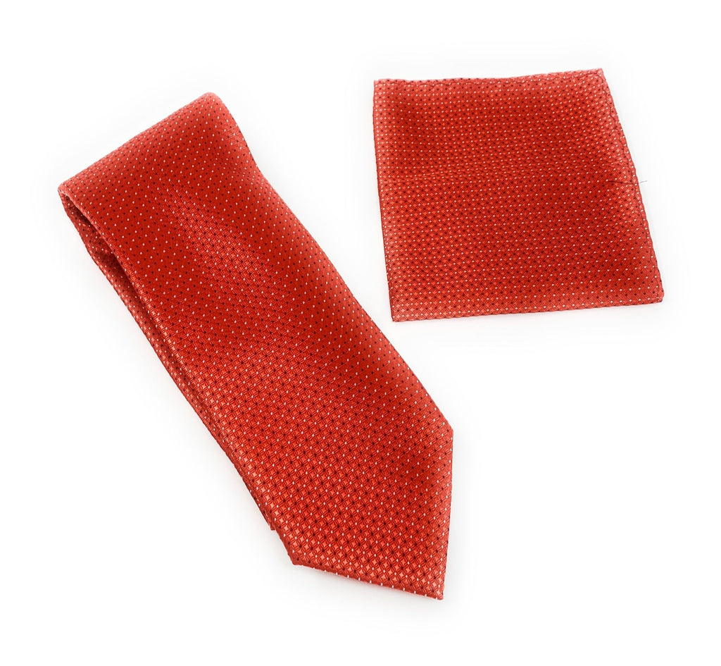 Red with Small Red Squares with Black and White Dots Designed Tie With Matching Pocket Square