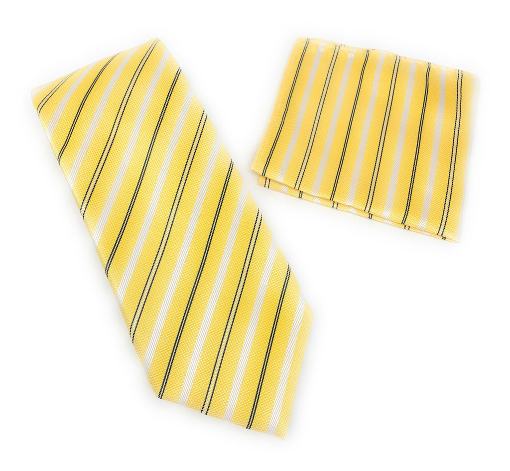 Yellow, Silver and Navy Stripped Designed Tie With Matching Pocket Square