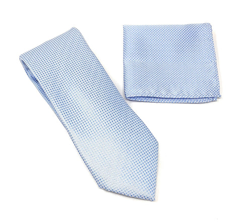 Baby Blue and Silver Squared Designed Tie With Matching Pocket Square