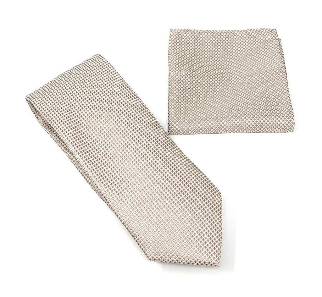 Taupe and Silver Squared Designed Tie With Matching Pocket Square