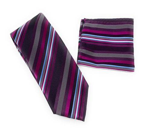 Baby Blue, Burgundy & Silver Silver Striped Tie With Matching Pocket Square