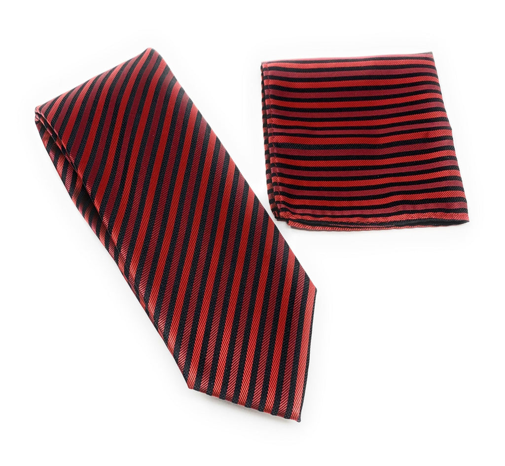 Burgundy, Red & Black Striped Tie With Matching Pocket Square