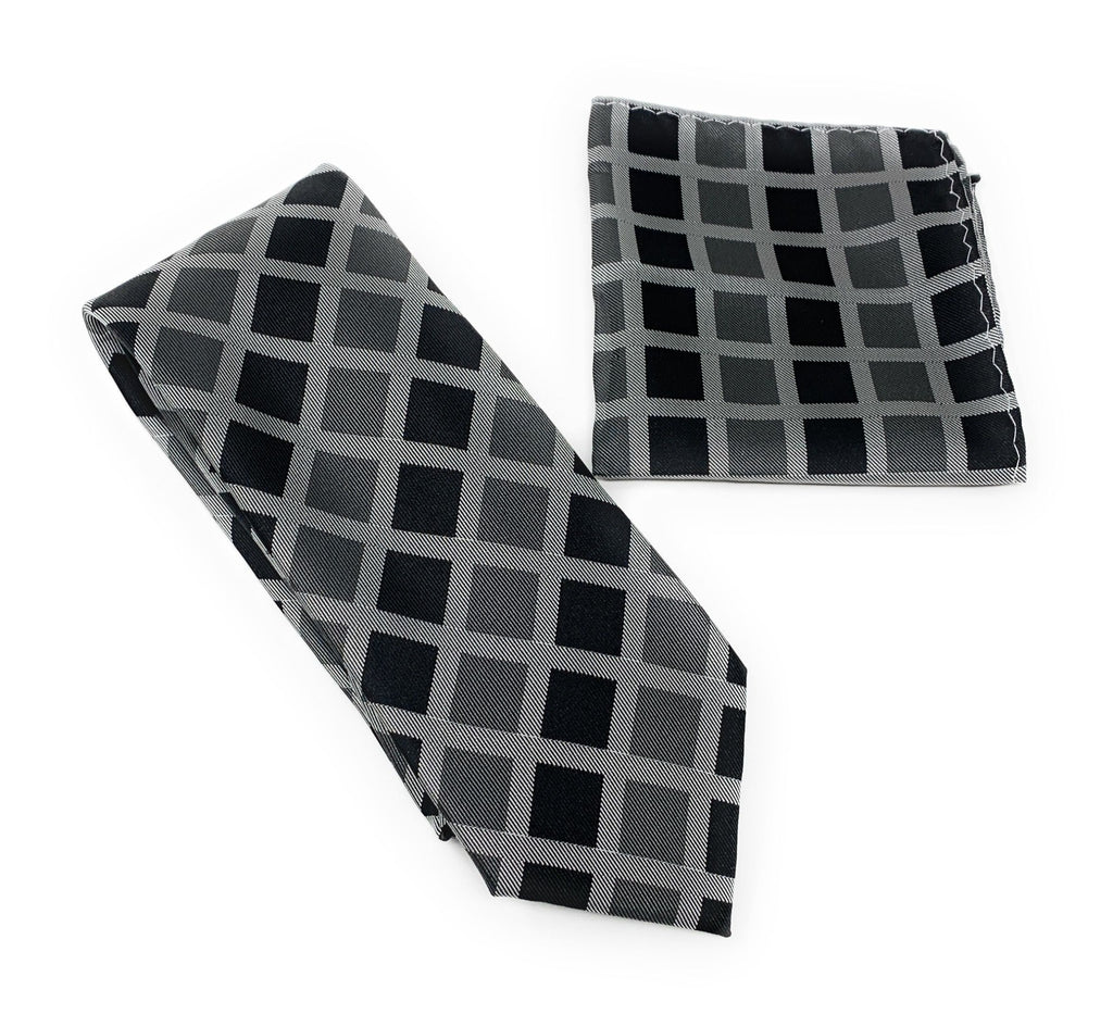 Silver, Black and Gray Squared Designed Tie With Matching Pocket Square