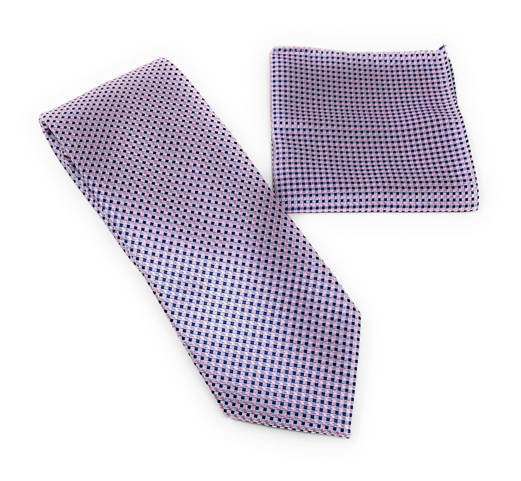 Blue and Pink with Silver Mini Dot Designed Tie With Matching Pocket Square