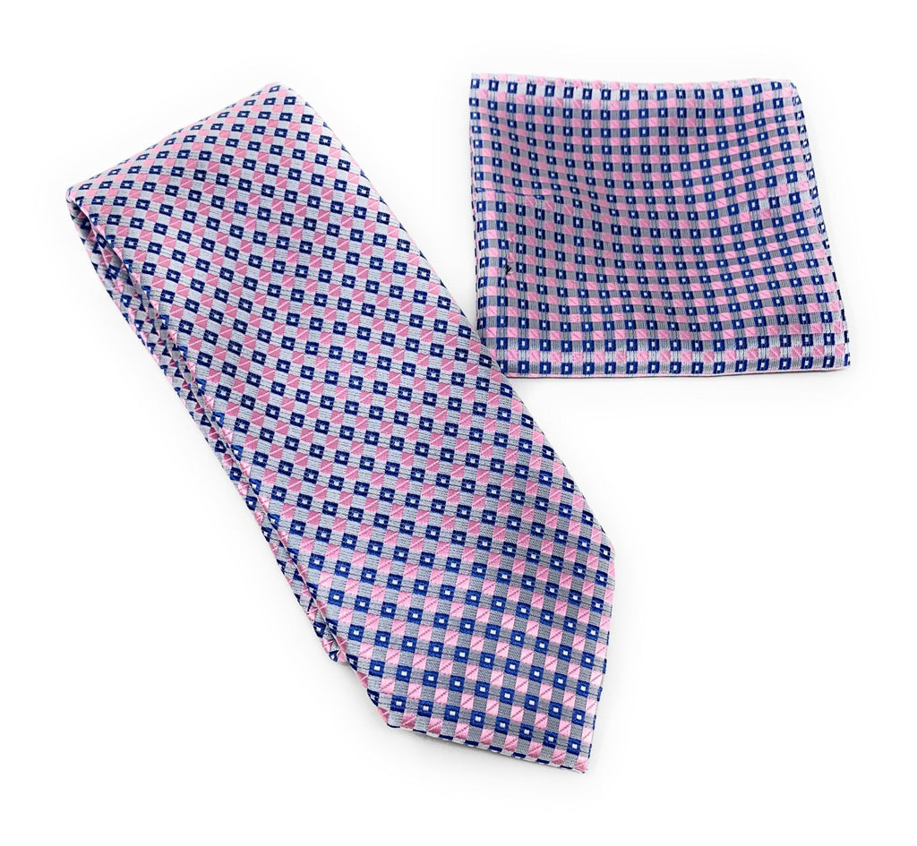 Blue, Navy, Silver and Pink Squared Designed Tie With Matching Pocket Square