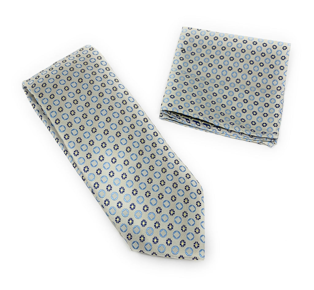 Silver With Gray Flowers and Baby Blue Squared Tie With Matching Pocket Square