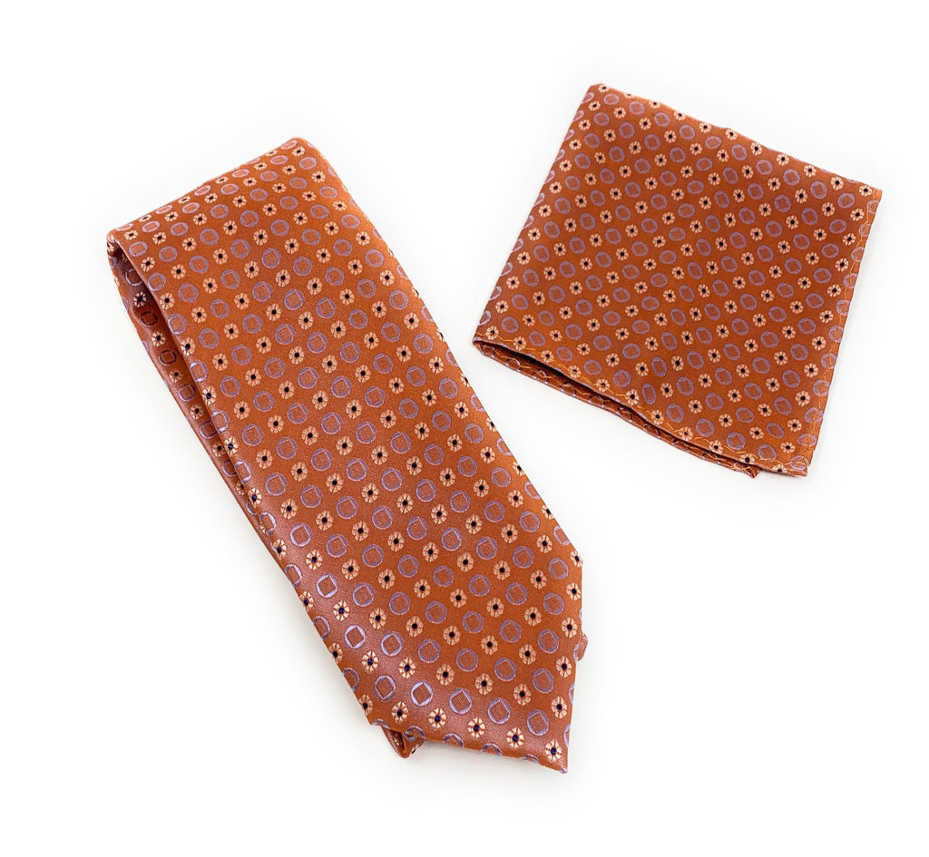 Burnt Orange With Silver Flowers and Lavender Squared Tie With Matching Pocket Square