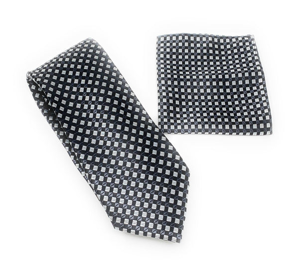 Black, Gray and Silver Designed Tie With Matching Pocket Square